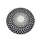 LPD Teppich Schwarz-Weiß-Runde Wohnzimmer Couchtisch Große Teppich Schlafzimmer Studie Fußmatten (Farbe : Black+White, größe : 120cm)