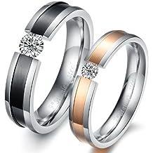 Ilove EU 1par (2pcs) Acero Inoxidable Anillo Banda Circonita Plata Negro Rose Oro boda wedding alianzas Compromiso Anillos de Compromiso Querido San Valentín par hombre, mujer