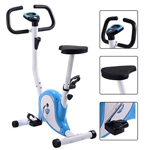 GOPLUS Heimtrainer Fahrrad Fitness Fahrrad F-Bike Fitnessbike Trainer bis 120kg höhenverstellbar Farbwahl (Blau+weiß)