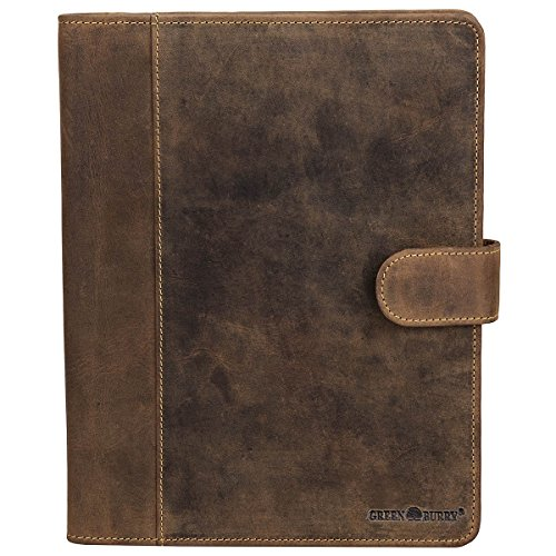 Greenburry-Vintage-Leder-Schreibmappe-A5-Konferenzmappe-Aktenmappe-Dokumenten-Collegemappe-Mappe-BV-GB-5-25