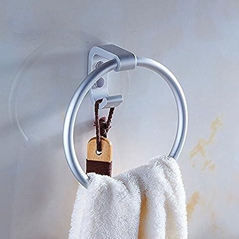 B & Y WC Badezimmer Handtuchhalter aus gebürstetem Aluminium Legierung Ring Wandhalterung