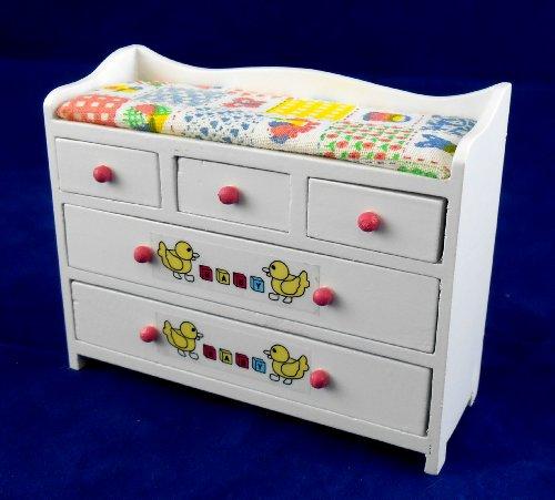 Casa Delle Bambole Mobile Nursery In Miniatura Bianco nastri ABC Bambino Fasciatoio