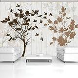 FORWALL Fototapete Tapete Bäume P2 (254cm. x 92cm.) Photo Wallpaper Mural AMF12066P2 Gratis Wandaufkleber Baum Baumstamm Vogel Vögel Braun Natur Holzoptik