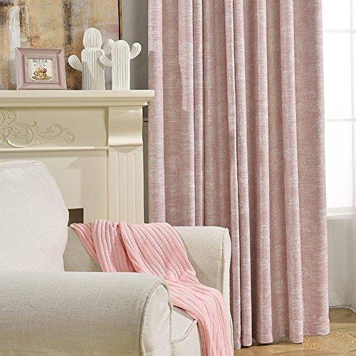 Tende e tende oscuranti con cotone e lino personalità ispessimento di alta qualità in cotone e lino per finestre trattamenti prodotti finiti soggiorno grommet top one panel, rosa, pezzo (200*270cm)