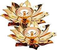 DXYZ Brass Decorative Votive Lotus Kamal Patta Akhand Diya Traditional Handmade Tea Light Holder (Gold, 4, Sma