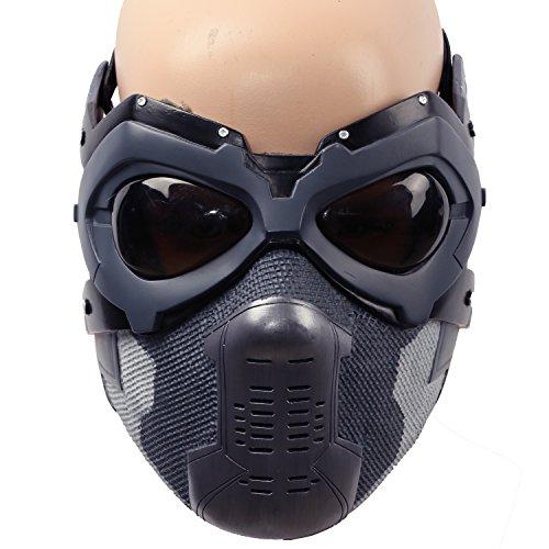 Winter Kostüm Erwachsene Für Soldier - Halloween Maske Bucky Cosplay Kostüm Hälfte Gesicht Helm Herren Verrücktes Kleid Zubehör Merchandise für Adult Replik