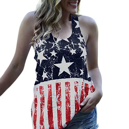 Bellelove Frauen Sommer Rundhals Ärmelloser Tank Top Flagge Americain Print T-Shirts Independence Day Patriotische Kleidung Blusen Freizeit Bluse