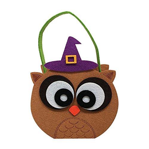 Zentto Halloween Cute Cartoon Candy Sugar Tasche Körbe Trick or Treat Taschen für Kinder Kinder Halloween Party Supplies Dekoration, Khaki Owl, 15cm*8cm (Owl Supplies Party)