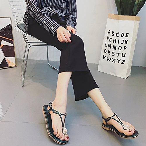 Estate moda donna sandali comodi tacchi alti,39 nero Black
