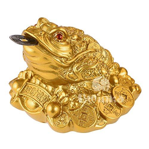 BWINKA Feng Shui argent chanceux monnaie grenouille crapaud / Chan Chu charme chinois de prospérité décoration de la maison cadeau
