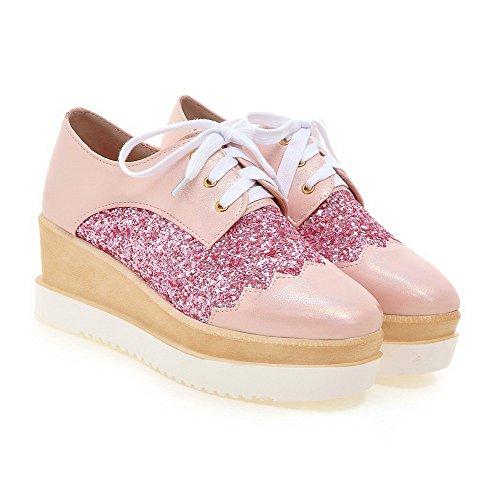 VogueZone009 Damen Pu Leder Mittler Absatz Quadratisch Zehe Rein Schnüren Pumps Schuhe Pink