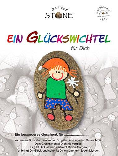 The Art of Stone Glückswichtel Stein Für Dich in RotGrünBlauOrange mit Blume, individualisierbarer Glücksstein, von Hand bemalt -