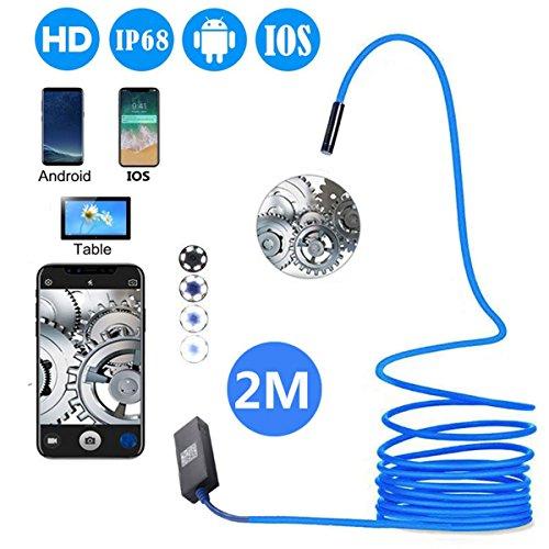 USB Endoskop, halbstarr Endoskop Inspektionskamera 2.0Megapixel CMOS HD IP68Wasserdicht Schlange Kamera mit 6verstellbaren LED-Lichter für OTG Android iOS Handys, Tablet