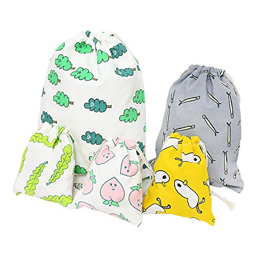 Ya Jin 5 Set Linen Cotton Drawstring Bags Reusable Gift Candy Favor Bag Jewelry Pouches for Traveling