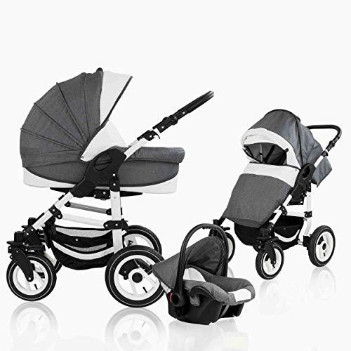 Bebebi Florenz | 3 in 1 passeggino con carrozzina modulari combinabili | ruote ad aria | Colore: Marco Darkgrey White