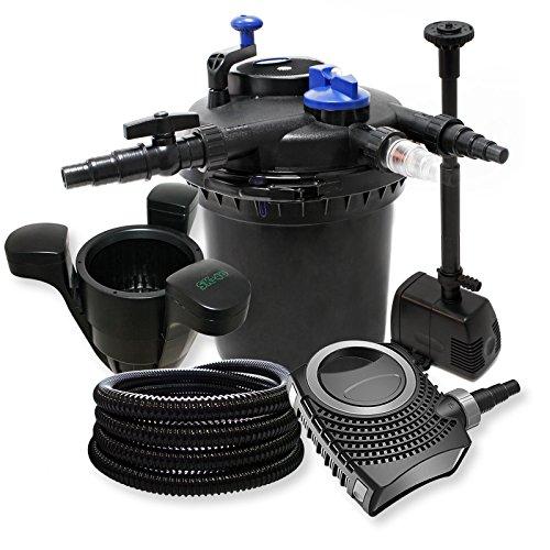 Druckfilter Set: 30000l Filter, 18W UVC Klärer, 70W Pumpe, Schlauch, Springbrunnenpumpe und Skimmer