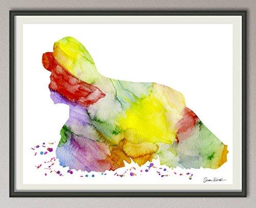 american cocker spaniel Rasse Hunde Hunderasse Fine Art Print Aquarell Silhouette Profil Poster Kunstdruck Plakat modern ungerahmt DIN A 4 Deko Wand Bild -