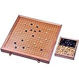 Go - Gobang - Spiel der Götter - Strategiespiel - Brettspiel aus Holz mit weissen Linien