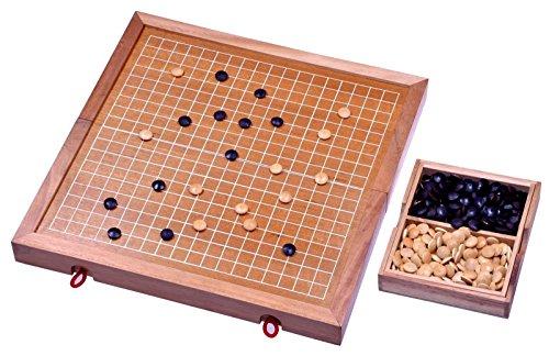 Go – Gobang – Spiel der Götter – Strategiespiel – Brettspiel aus Holz mit weissen Linien