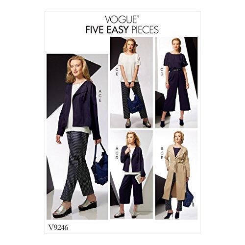 Vogue Mustern Schnittmuster Jacke Gürtel Top und Hose, Mehrfarbig, Größen xsm-med -