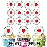 Japan Flagge–24essbare Cupcake-Dekoration/Geburtstags-Dekoration, leicht, Precut Kreise