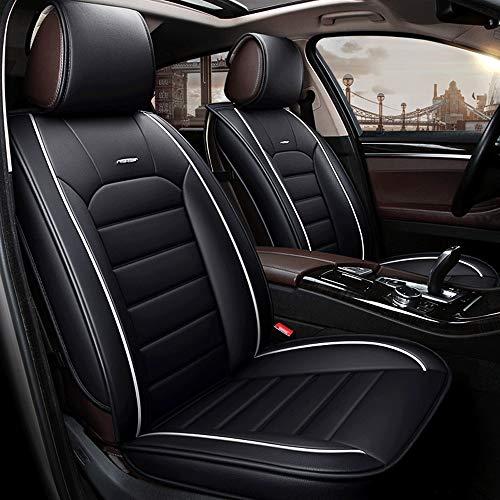 DaFei Autositzbezüge, 5-Sitzer-Komplettsatz Universal-kompatible Airbags vorne und hinten atmungsaktiv hochwertiges Leder Comfort Protector Cushion (Farbe : Schwarz)