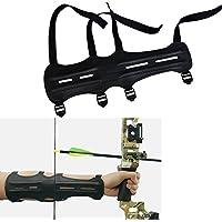 Archery PU Brazo de Cuero Guardia Elástica Ajustable de 4 Correas del Equipo de Protección del Brazo
