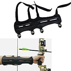 Idea Regalo - 3Z Archery Guardia del braccio in pelle PU tiro con l'arco Equipaggiamento protettivo con elastico a 4 cinghie regolabile