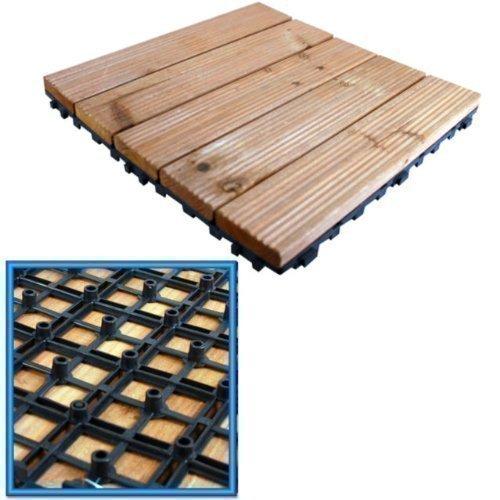 18x Holzterrassen zusammensteckbar Fliesen Garten Decks Platte 30cm SQ Deck Tile (Deck Fliesen)