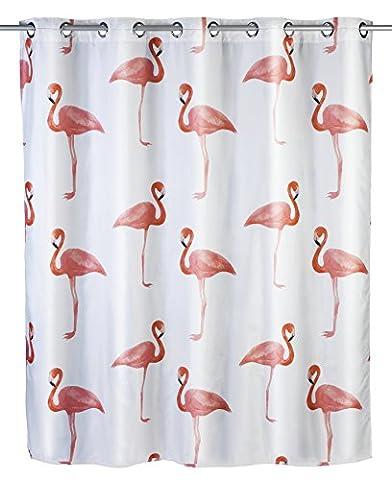 Wenko 22480100 Anti-Schimmel Duschvorhang Flamingo Flex Anti-Bakteriell, schimmelresistent mit integrierter Hängeeinrichtung, Polyester, mehrfarbig, 180 x 200