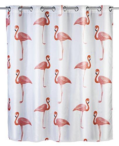 Wenko 22480100 Anti-Schimmel Duschvorhang Flamingo Flex, Anti-Bakteriell, wasserabweisend, waschbar, schimmelresistent mit integrierter Hängeeinrichtung, 100% Polyester, 180 x 200 cm, mehrfarbig (Flamingo Duschvorhang)