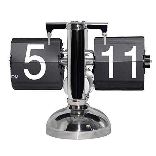 KABB Tischuhr Retro Flip Clock Uhr für Zuhause Büro Wohnzimmer Batteriebetrieben (Schwarz)