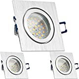 3er IP44 LED Einbaustrahler Set Bicolor (chrom / gebürstet) mit LED GU10 Markenstrahler von LEDANDO - 4,5W - warmweiss - 120° Abstrahlwinkel - Feuchtraum / Badezimmer - 30W Ersatz - A+ - LED Spot 4,5 Watt - eckig