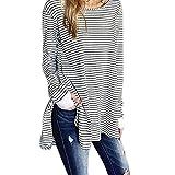 VENMO Frauen Plus Size Tops Lose Pullover Langarm Bluse Streifen Shirt Langarmshirt Sweatshirt Streifen Lace Lang Sleeve Herbst O Ausschnitt Oberteile Damen Kreuz Langarmshirts Hemd (XL, White)
