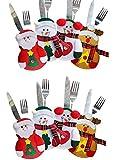 Sunei.f 8Pcs Costume da posate Alce di pupazzo di neve di Babbo Natale,decorazione della tavola