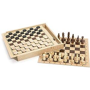 Jeujura 8133 - Juego de Damas y ajedrez, Caja de Madera