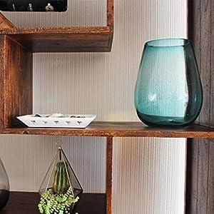 Glasmanufaktur Mitienda, Vase aus Glas, blau aqua | breite Öffnung | 24 cm Höhe, Dekovase, Blumenvase, mundgeblasene Vase aus Mexiko, Glas-Recycling
