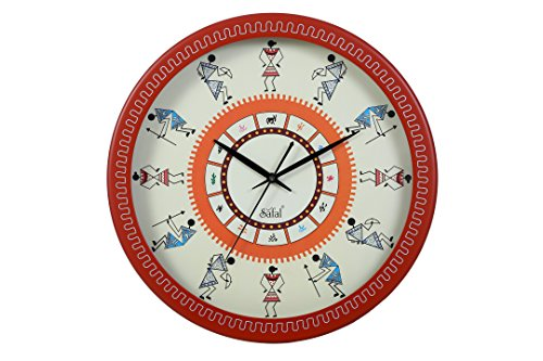Safal Warli Art Wooden Clock (Orange)