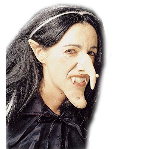 zum Ankleben Lange Hexennase mit Warze Witch Warzennase Grusel Hakennase Böse Zauberin Gumminase Halloween Kostüm Zubehör Walpurgisnacht ()
