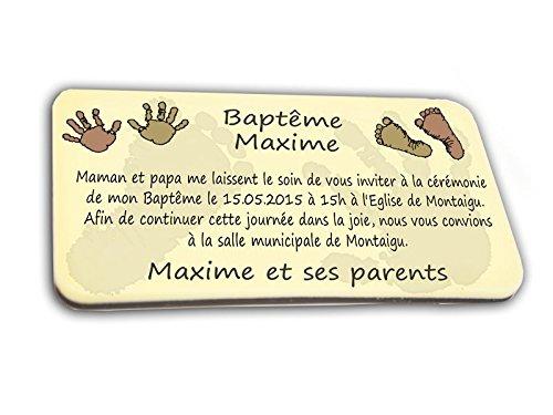 CARTE D'INVITATION en chocolat thème PIEDS & MAINS personnalisée avec votre photo et votre texte - pour baptême mariage communion - invitation en chocolat design et moderne chocolat