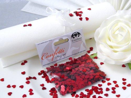 EinsSein 14g Streudeko Konfetti Hochzeit Herz klein rot metallisch Tischdeko Hochzeit