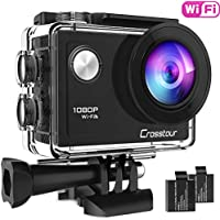 Crosstour Action Camera Full HD 1080P Wifi For Vlog Underwater 40M with 2 Rechargeable 1050mAh Batteries and IP68 Waterproof Case