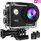 Crosstour Action Camera Full HD 1080P Wifi Underwater 30M with 2 Rechargeable 1050mAh Batteries