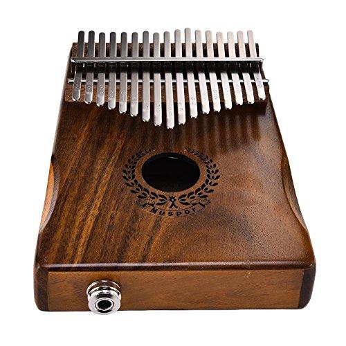 17 Tasten Thumb Piano, Massivholz Kalimba, Finger Piano - Sound Hole Link Elektrische Lautsprecher mit Musik Buch Tune Hammer und Tasche (D-und B-clear-taschen)