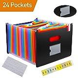 24 Fächer Büro Dokumentenmappe A4 Fächermappe Ordnungsmappe farbig erweiterbar Sortiermappe, mit Gratis Etiketten von SOSMAR