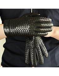 Los guantes calientes guantes y cómoda Guantes de piel de cordero Hombres invierno guantes de cuero caliente de la mano - tejido de guantes de cuero ( Tamaño : S )
