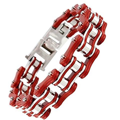 AnazoZ Bijoux Gothique Bracelet Homme Punk Style Gourmette Acier Inoxydable Bracelet Chaîne de Vélo Cycliste Chaîne Longueur-23CM Rouge
