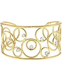 18ct Yellow Gold Texture Wire Bangle Bracelet Solid Cuff Basket-weave .28 Dwt Diamond
