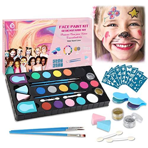Kinderschminke Set, 16 Professionelle Face paint Schminkfarben Größere Kapazität, 64 Schablonen und 5 Pinsel,2 puff,2 Glitzer,2 Haarkreideklammern Wasserlösliches für empfindliche Haut MEHRWEG