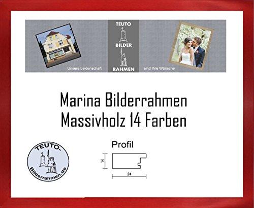 Marina Echtholz Bilderrahmen 35 x 38 cm Massivholz schlicht elegant 38x35 cm Antireflex Acrylglas in 14 Rot